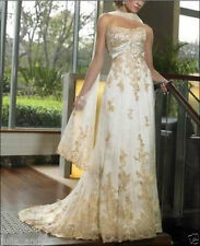 beautiful champagne New chiffon wedding dress in stock size 6 8 10 12 14 16