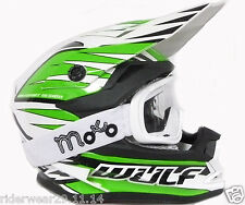 WULF ADVANCE Motocross Bambini Casco Moto Quad PIT ATV Scooter, Verde + occhiali