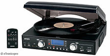 NEW BLACK JENSEN HOME STEREO AM / FM RADIO 3-SPEED VINYL RECORD PLAYER TURNTABLE