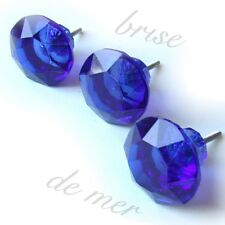 BLUE GLASS FACETED GLASS CRYSTAL CUT DRAWER DOOR FURNITURE KNOBS HANDLES PULLS