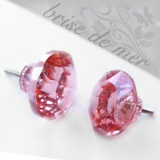 PINK GLASS FACETED GLASS CRYSTAL CUT DRAWER DOOR FURNITURE KNOBS HANDLES PULLS