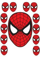 LARGE SPIDERMAN MASK ICING SHEET/ RICE PAPER & 12 X SMALL CUP CAKE TOPPERS