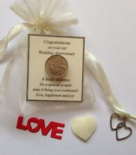 First Wedding Anniversary Lucky Sixpence Gift-  Ivory Bag & Heart Charm - 1st