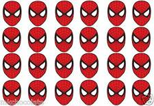 24 X SMALL SPIDERMAN MASKS UN CUT ICING SHEET/ RICE PAPER CUP CAKE TOPPERS