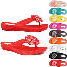 NEW WOMENS LADIES DIAMANTE FLOWER TOE POST SANDALS THONG FLIP FLOPS BEACH SHOES