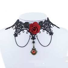 Vintage Handmade Retro Gothic Steampunk Lace Flower Choker Necklace Jewellery