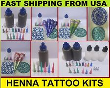 Henna kits- Applicator Bottle Natural henna paste Stencil Tattoo Body Art Mehndi