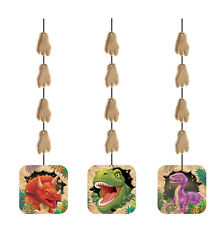 Dinosaur Party Hanging Swirl Decorations 1-18pk | T-Rex | Triceratops