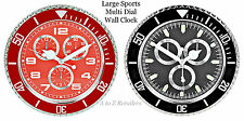 LARGE MULTI DIAL SPORTS CHROME BEDROOM LIVING ROOM WALL CLOCK HOME DECOR NEW