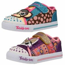 Infant Girls Skechers Twinkle Toes Shuffles-Critter Buds Riptape Strap Trainers