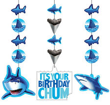Great White Shark Splash Party Hanging Swirl Decorations 1-18pk