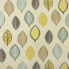 Duck Egg, Taupe And Yellow Leaves Oilcloth Wipeclean PVC Vinyl Tablecloth
