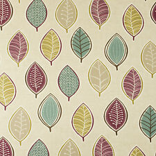 Purple, Beige and Duck Egg Leaves Oilcloth Wipeclean PVC Vinyl Tablecloth