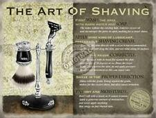 """ART OF SHAVING"" GREY BATHROOM VINTAGE STEEL CLASSIC WALL PLAQUE TIN STEEL SIGN"