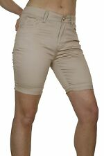 Womens Above The Knee Shorts Jeans Style Chino Shine Beige NEW 12-18
