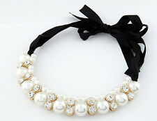 Pearls & Clear Crystal Black Ribbon Choker Chunky Statement Bib Collar Necklace