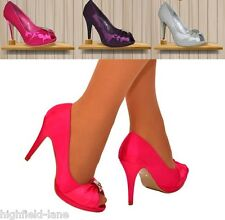 LADIES PINK SATIN DIAMANTE EVENING WEDDING PARTY PEEP TOE HIGH HEEL SHOES 3 uk
