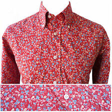 Relco Mens Red Floral Flower Shirt Long Sleeve Vtg Mod Retro Button Down Collar