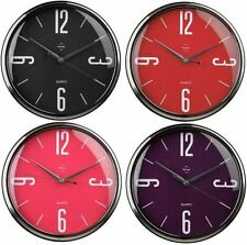 31cm Retro Quartz Wall Mounted Clock Home Office Kitchen Chrome Effect Clock New