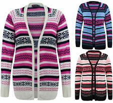 LADIES WOMENS KNITTED LONG SLEEVES AZTEC STRIPE OPEN CARDIGAN KNIT LONG TOP 8-14