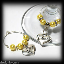 Beautiful Lemon wedding wine glass charms for top table or favours decor