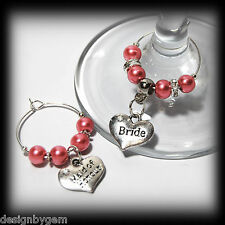 Beautiful Salmon pink wedding wine glass charms for top table or favours decor