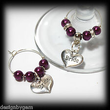 Beautiful Plum wedding wine glass charms for top table or favours decor