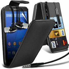 Top Flip PU Leather Phone Case Skin Cover✔In Ear Stereo Headset Headphones
