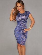 Ladies Cocktail Evening Mini Dress Lace Bodycon Sexy Party Gown Size 12 14 16