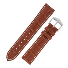 Hirsch MODENA Alligator Embossed Leather Watch Strap and Buckle in GOLD BROWN
