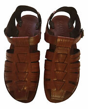 Leather Sandals for Men Fisherman Brown Strap Flat Casual Shoes Closed Toe 6-12
