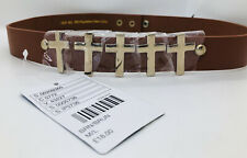 Urban Outfitters Brown Crosses Cross Waist Belt BNWT S/M M/L Gold Faux Leather