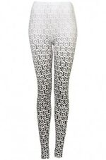 Topshop Black White Grey Dip Dye Dripping Peace Symbol Leggings BNWT UK 10 US 6