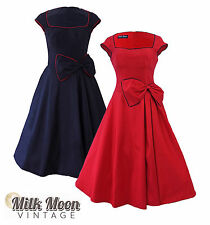 Vintage 1950's 1960's Schwarz Rot Swing Rockabilly Tanzball Abendkleid Grace