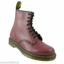 Dr Martens 1460Z Genuine Classic Biker Cherry Red 8 Eye Mens Leather Boot  Rock