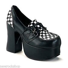 Demonia CHARADE-12 Goth Punk Lolita Black White Eyelette Strap Mary Jane  Shoes