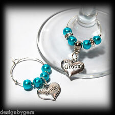 Beautiful Hot Turquoise wedding wine glass charms for top table or favours decor