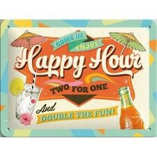 Happy Hour Two for one and double fun metal La Plaque Publicitaire enamel plate