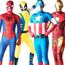 Avengers Superhero 2nd Skin Bodysuit Mens Fancy Dress Adults Costume Outfit