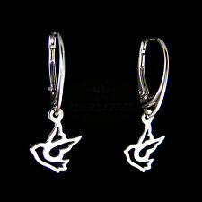 FASHIONS FOREVER® 925 Sterling Silver Dove Earrings (Leverback Or Hook/Wire)