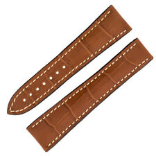 Omega Style Alligator Embossed Leather Deployment Watch Strap in GOLD BROWN