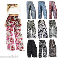 NEW LADIES FLORAL PRINT PALAZZO TROUSERS WOMEN SUMMER WIDE LEG PANTS SIZE 8-26