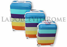 Valigia Set 3 Valigie Trolley Multicolor ULTRALEGGERO IN POLICARBONATO 4/8 RUOTE