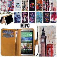 Folio Stand Card Wallet Leather Cover Case Pouch For Various HTC Desire Phones