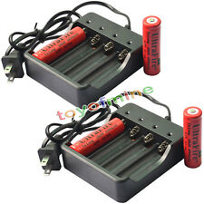 4x 18650 4.2V UF Li-ion 6000mAh batteria ricaricabile per LED Torch + 2x Charger