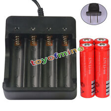 4x 3.7V 18650 UF leone 6800mAh batteria ricaricabile per LED Torch + Charger