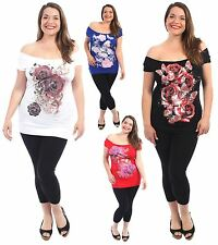 New Ladies Off Shoulder Butter Fly Floral Sequins T Shirts Tops 8-22