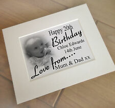 """Personalised print for a photo frame, 10x8"""" size, 20th birthday present, gift."""