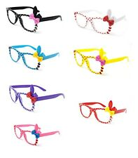 2 Pairs of Cute 3D clear lens Bunny Heart Bow Frames perfect costumes parties