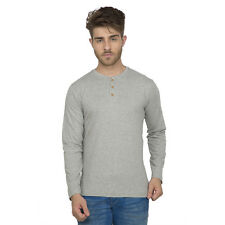 Clifton Men's Henley Cotton Full Sleeve T-Shirt - Grey Melange